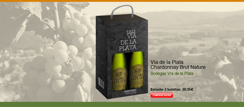 Cava de Extremadura. Estuche Vía de la Plata Chardonnay Brut Nature